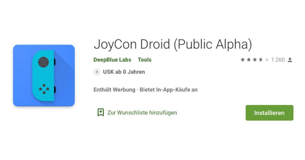 Zockerpuls - Dein Smartphone als JoyCon-Ersatz für die Nintendo Switch - JoyCon Droid App