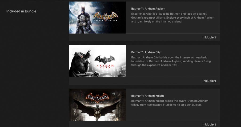 Epic verschenkt Batman-Arkham-Trilogie und Lego-Batman - Bundle