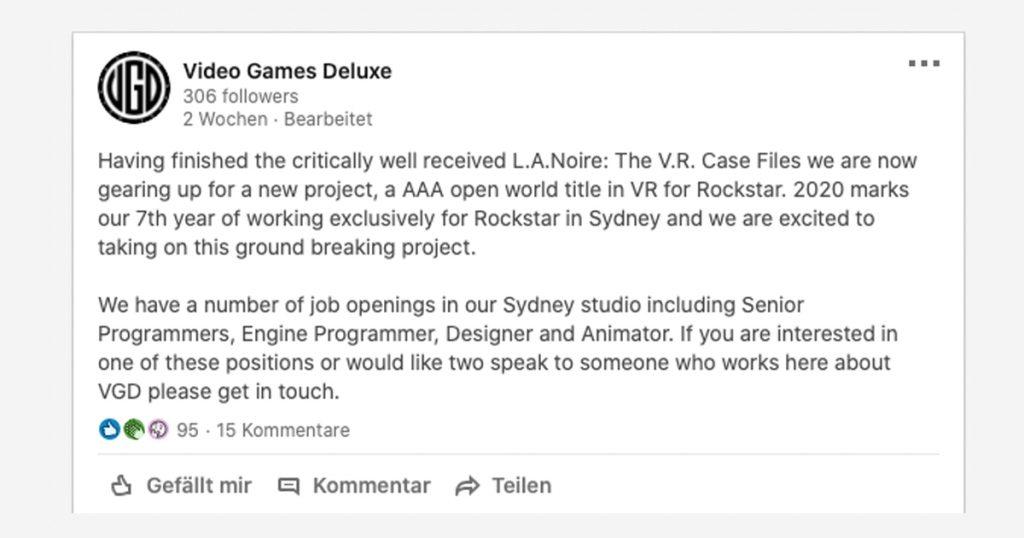 Zockerpuls - GTA VR- Arbeitet Rockstar an einem Virtual Reality-Modus - Linkedin