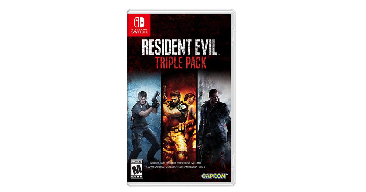 Zockerpuls - Resident Evil Triple Pack mit Teil 4,5 und 6 für Nintendo Switch-Packung